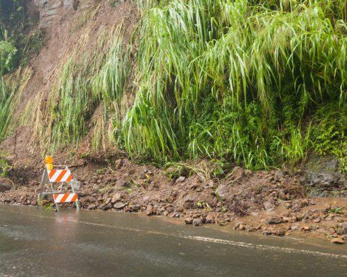 Landslide in Hilo during hurricane Lane 2018 Hawaii
